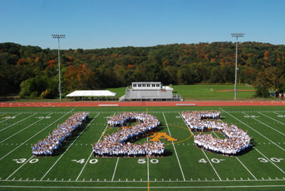 Pittsburgh's Shady Side Academy Football field with 125 for 125th Anniversary