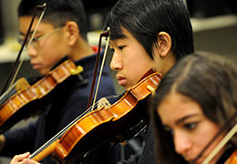 Students at Shady Side Academy in Pittsburgh Pennsylvania Playing Violin in Strong Arts Program