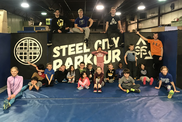 JS Kids of Steel workout at Steel City Parkour.